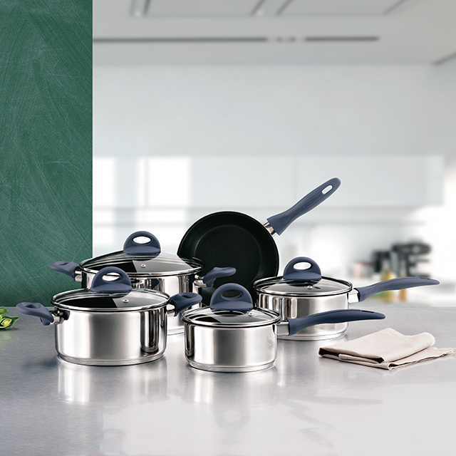 Complete Cuisine 9 Piece Stainless Steel and Non-stick Ceramic Cookware Set, Blue