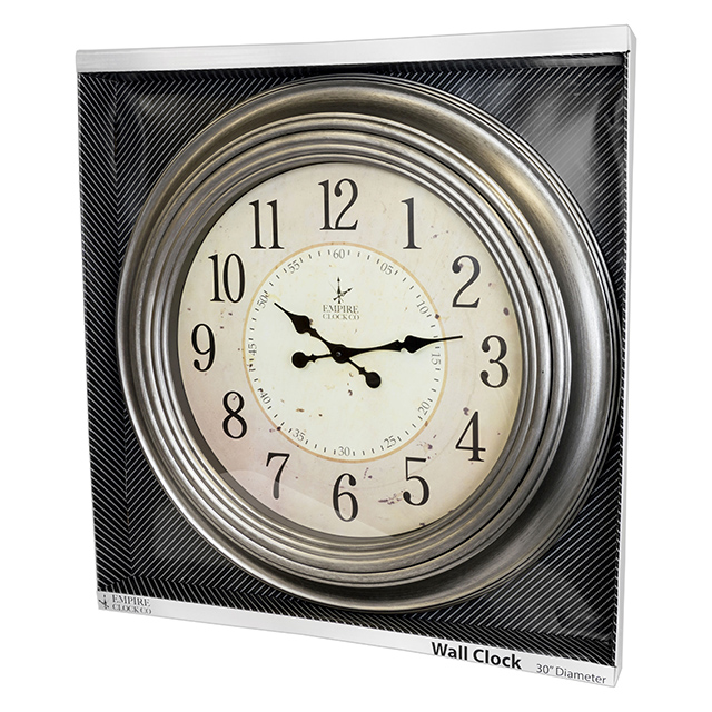 Clocks strategic merchandise group - Large brushed nickel wall clock ...