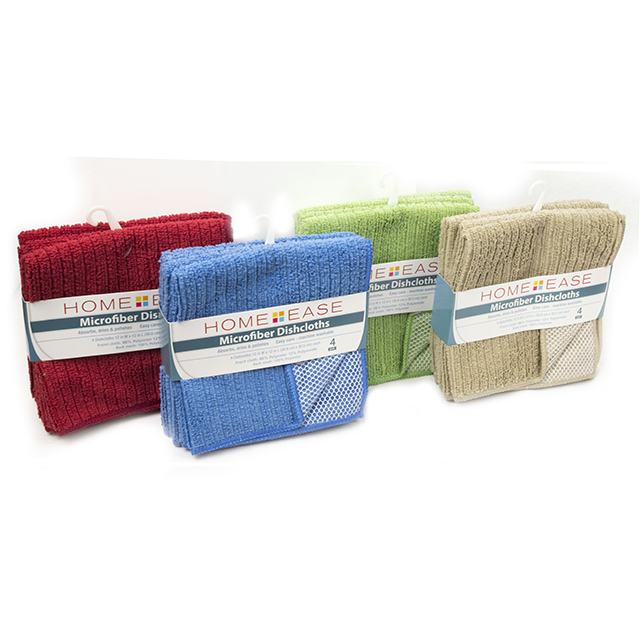 Home Ease 4 Pack Microfiber Dishcloths, Assorted