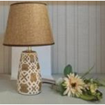 12.99 INCH BEIGE WITH WHITE PATTERN LAMP - 18HY008D6