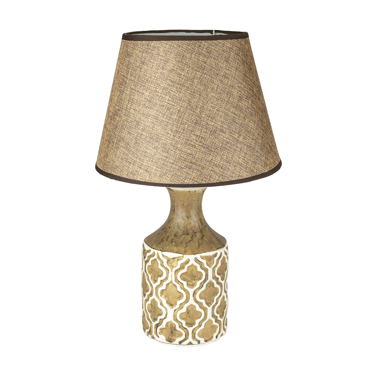 15.75 Inch Beige with White Pattern Lamp - 18HY012D9