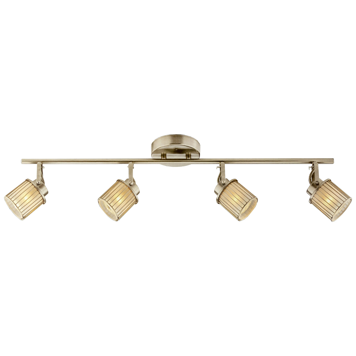 Catalina 4-Light Track Bar, Frosted Glass Shades, Brushed Nickel