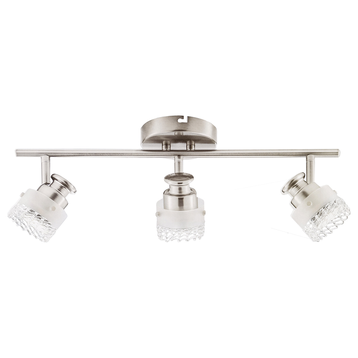 Catalina 3-Light Track Bar, Crackle Glass Shades, Brushed Nickel