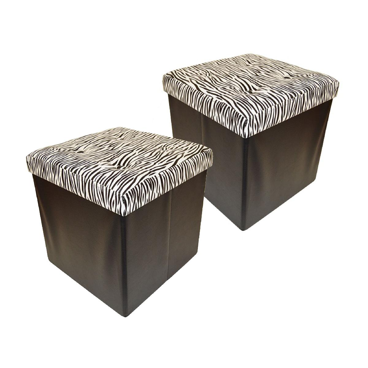 2 Pack Folding Storage Ottoman, Zebra with Buttons