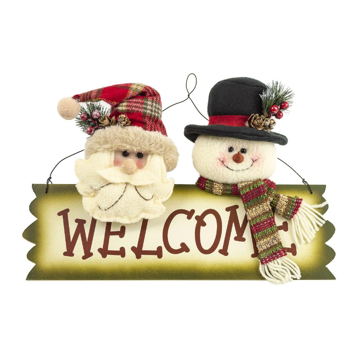 15IN BURLAP SANTA SANTA SNOWMAN WELCOME PLAQUE