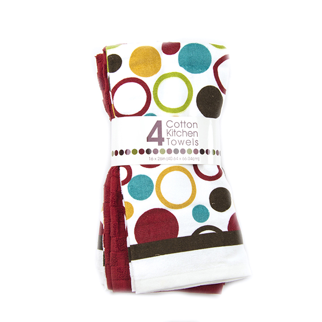 4 Piece Assorted Kitchen Towels, Polka Dot