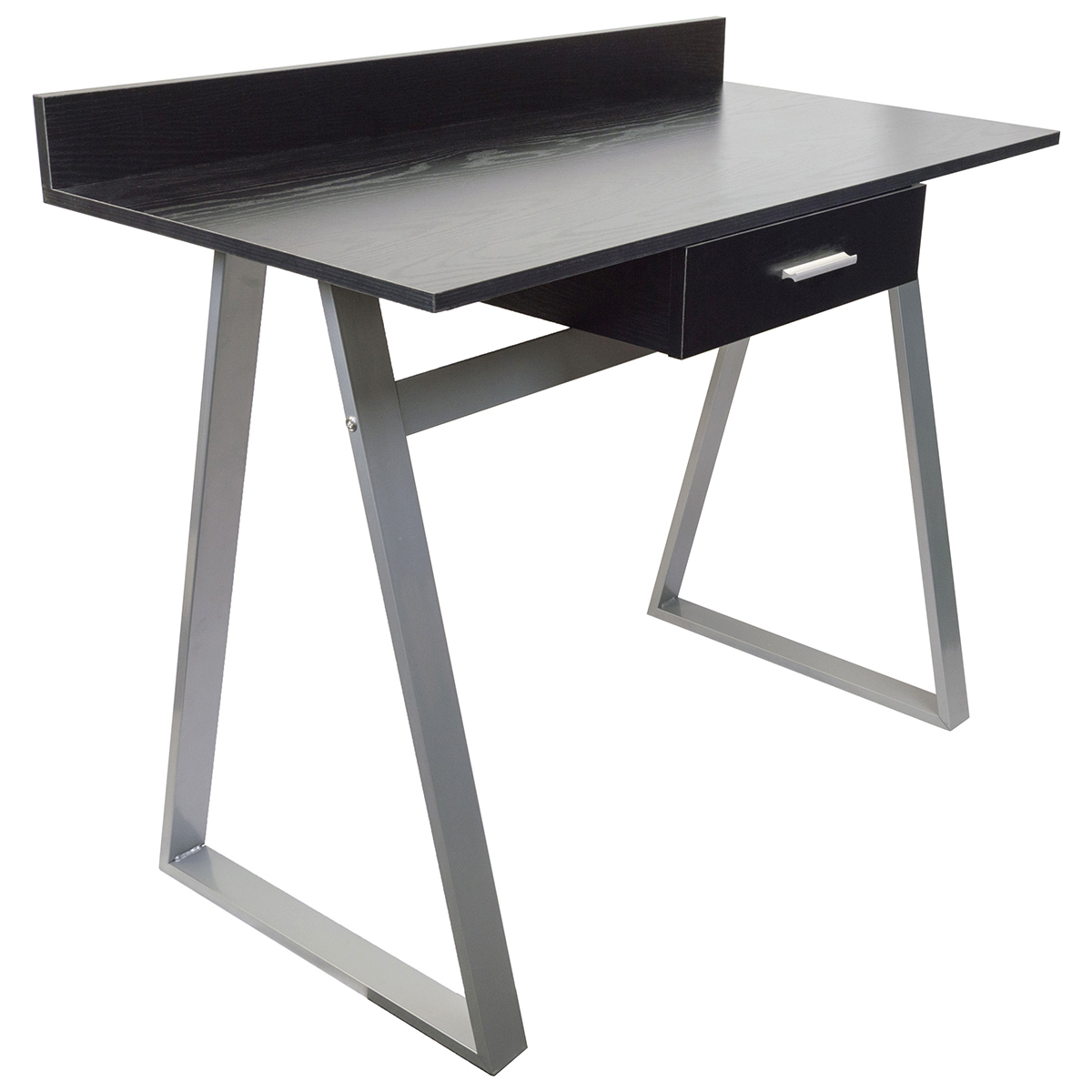 Black Woodgrain Work Desk with Silver Legs