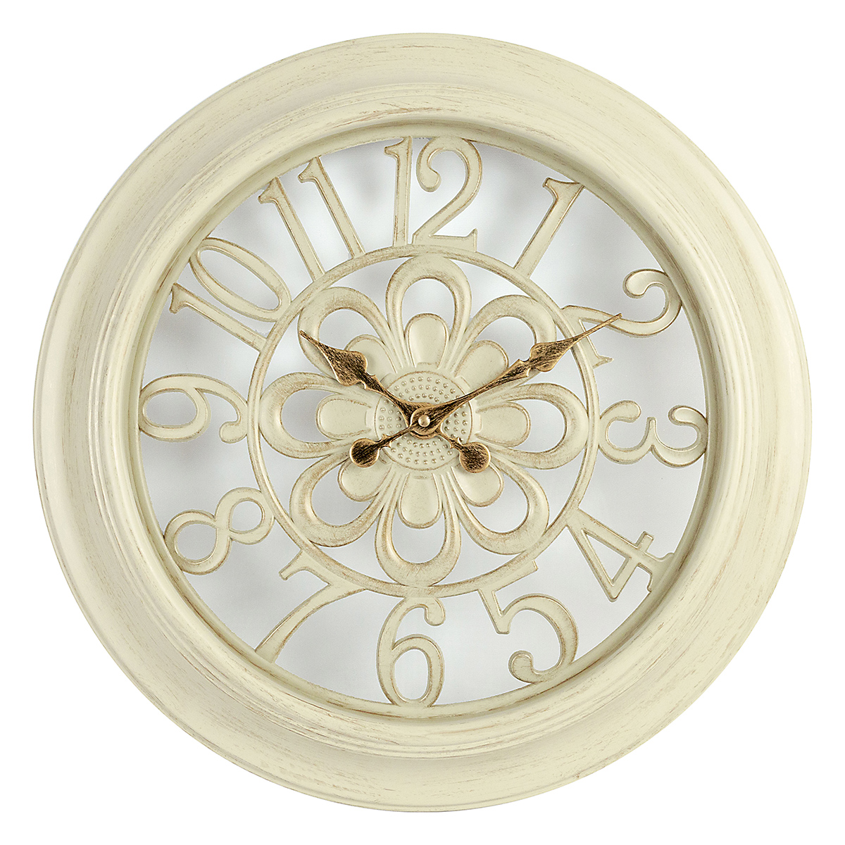 18 inch Decorative Wall Clock, Antique White