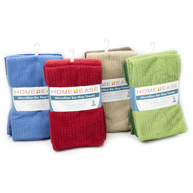 Home Ease 5 Pack Microfiber Bar Mop Towels, Assorted