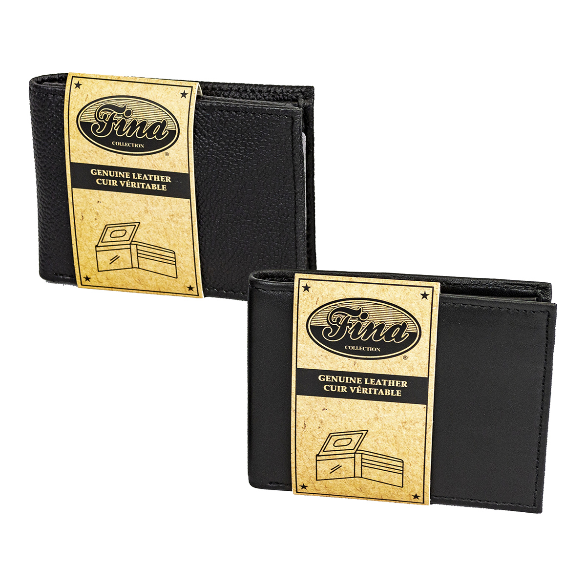Bifold Assorted Smooth and Textured Black Leather Slimfold Wallet