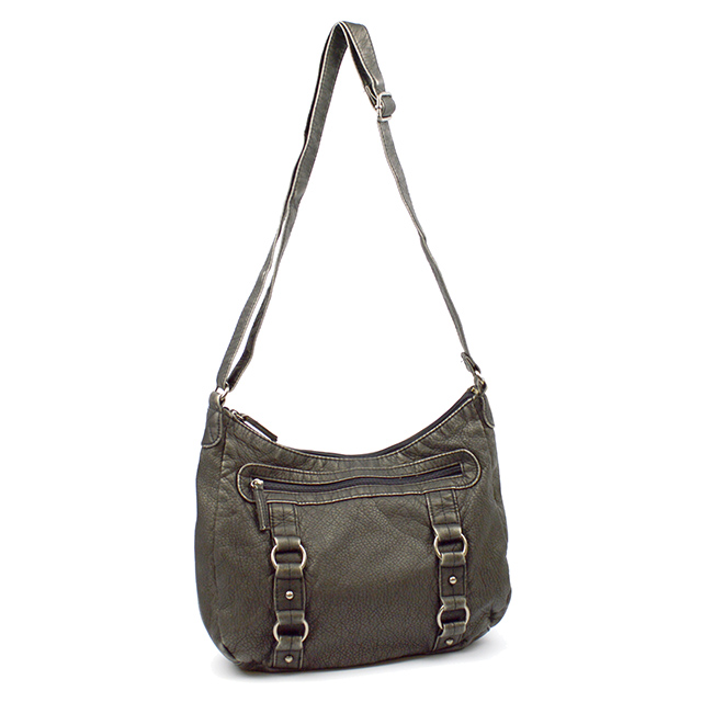 East West Hobo Washed Handbag, Black