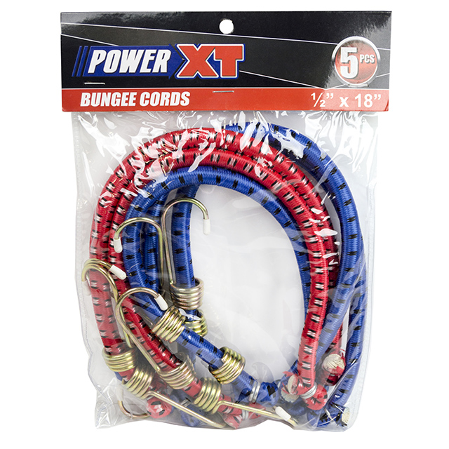 PowerXT 5 Piece Bungee Cord, 18 Inches