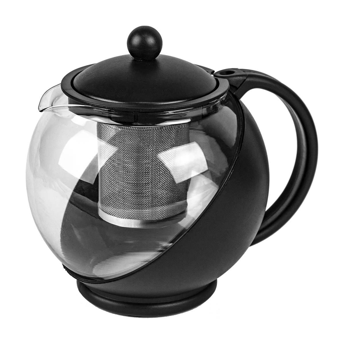 40 oz. Half Moon Glass Teapot with Infuser Black