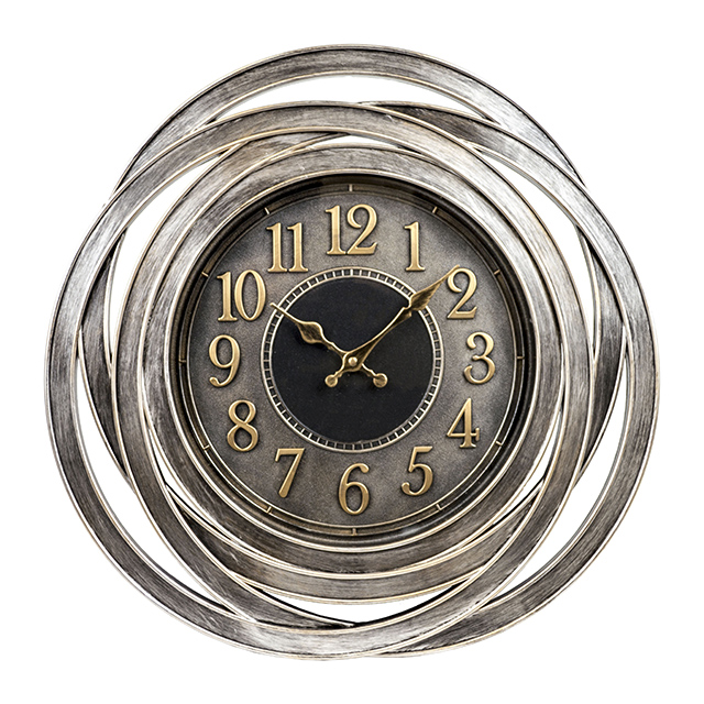 Empire 20 Inch Decorative Wall Clock, Antique Silver